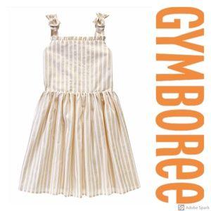 Gymboree Gold Metallic Stripe Bow Fit Flare Dress